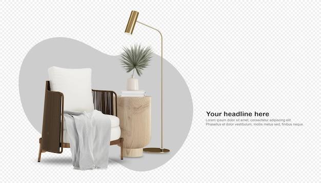 Interno del soggiorno con poltrona bianca e mobili in legno