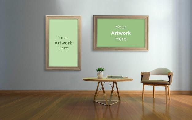Soggiorno sedia da terra interna in legno con cornice per foto vuota mockup design