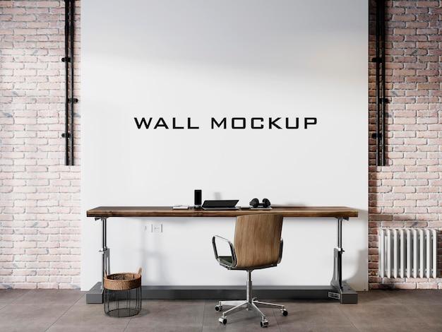 Design del mockup della parete interna del soppalco del soggiorno psd premium
