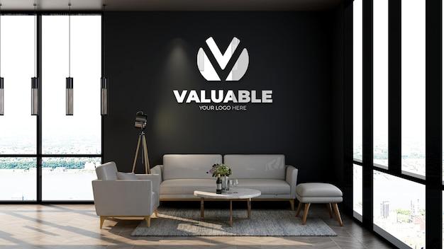 Mocku del logo della parete della sala d'attesa della hall del soggiorno o dell'ufficio