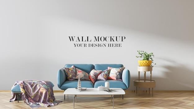 Mockup della parete del soggiorno in scena 3d