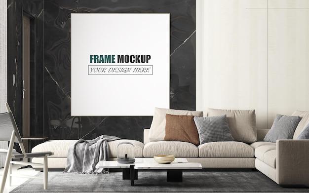 Soggiorno con ampio mockup di cornice per divano