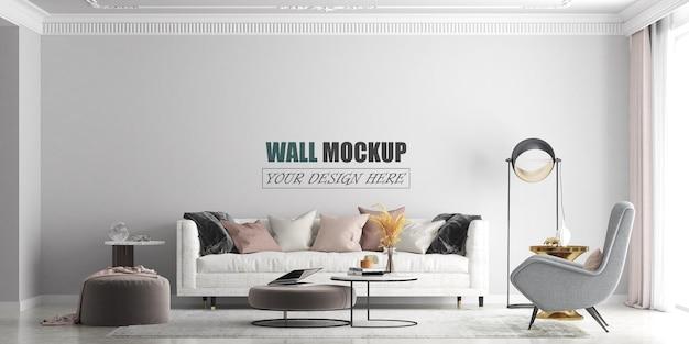 Soggiorno con mockup di pareti dalle linee moderne