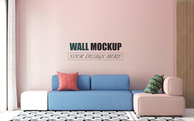 Soggiorno con mockup muro muro rosa