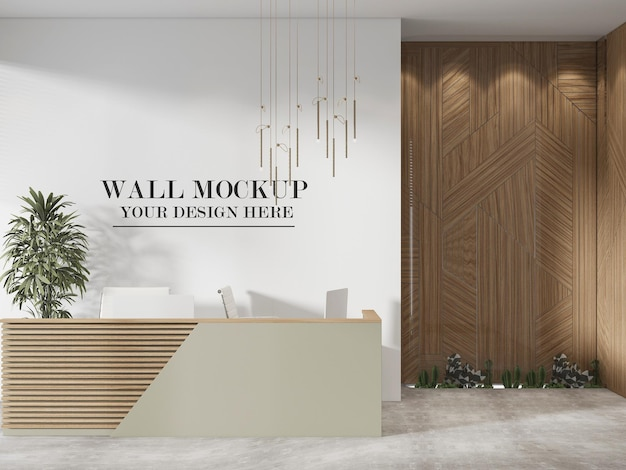 Mockup della parete dell'atrio in rendering 3d