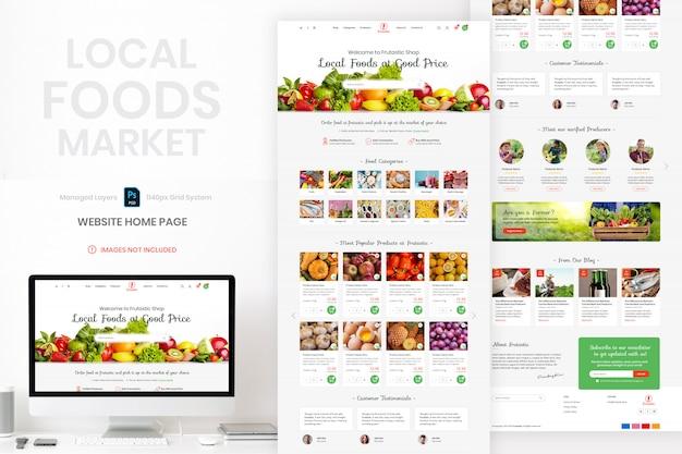 Modello di home page del sito web del mercato alimentare locale