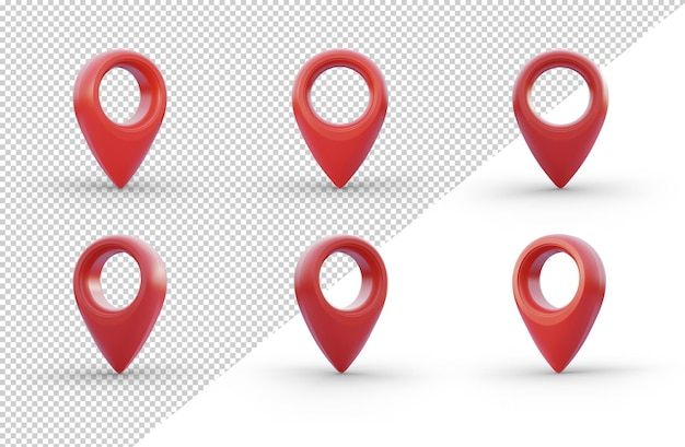 Set di icone di posizione pin isolato su sfondo bianco