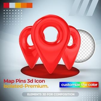 Perno di posizione per la mappa nel rendering 3d