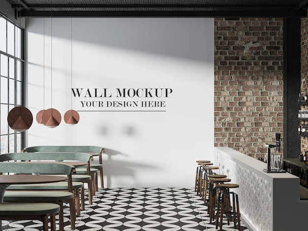 Mockup della parete del caffè di design loft
