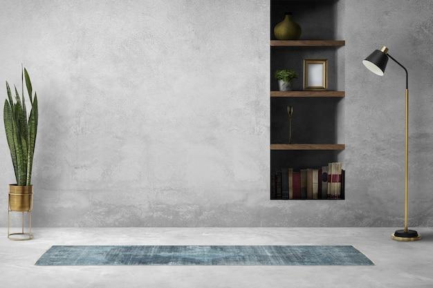 Interior design psd del soggiorno a soppalco