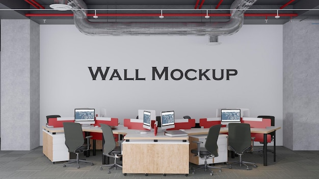 Mockup della parete dell'ufficio del loft