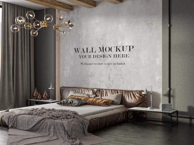 Mockup di parete della camera da letto in stile loft