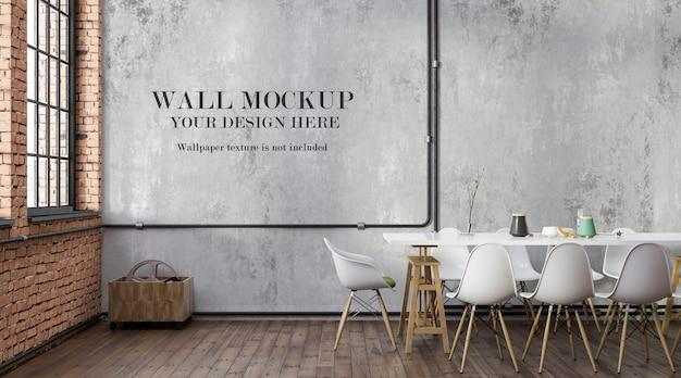 Mockup di parete della sala da pranzo in stile loft