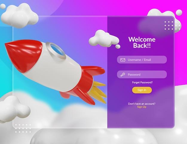 Pagina di accesso con illustrazione 3d di razzo ed effetto vetro trasparente sfocato