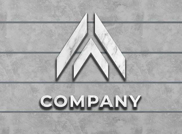 Logo aziendale mockup con superficie in marmo sul muro