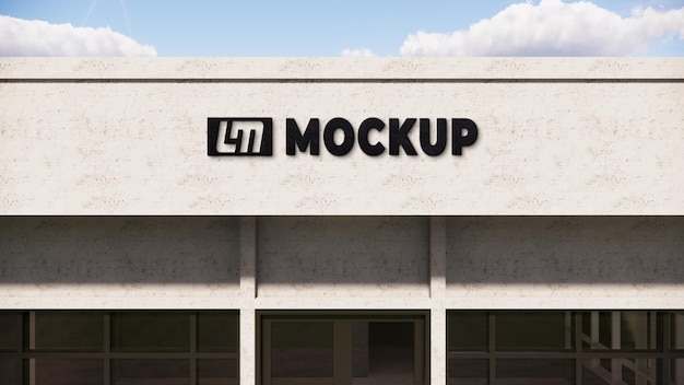 Logo mock up 3d su un muro