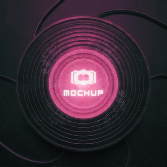 Mock-up del logo con luci brillanti