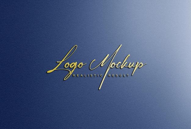Logo mockup 3d logo dorato sulla parete