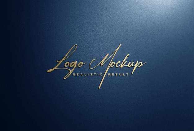 Logo mockup 3d segnaletica con logo dorato