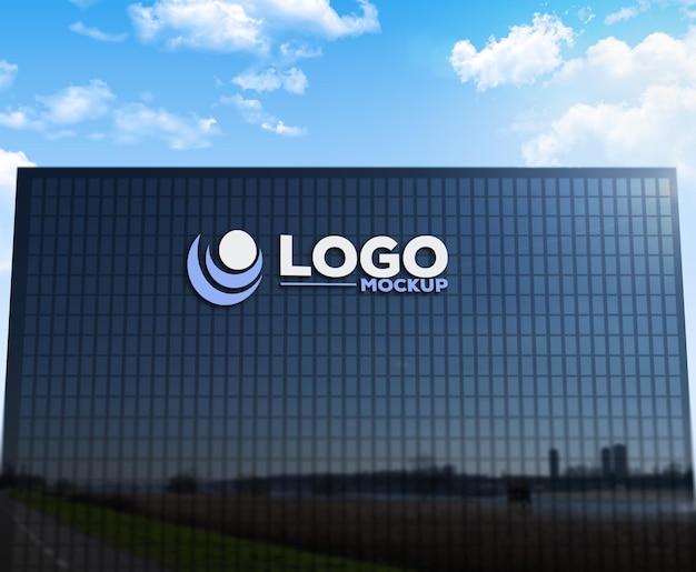 Logo mockup 3d edificio segno