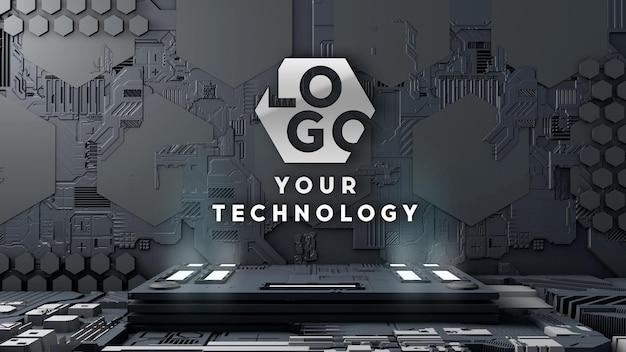 Parete del circuito di tecnologia 3d logo mockup