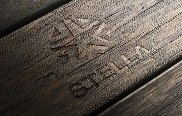 Logo mockup 3d in legno