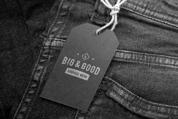 Logo mockup tag etichetta nera