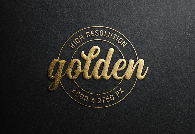 Logo mockup su carta nera con effetto goffrato oro