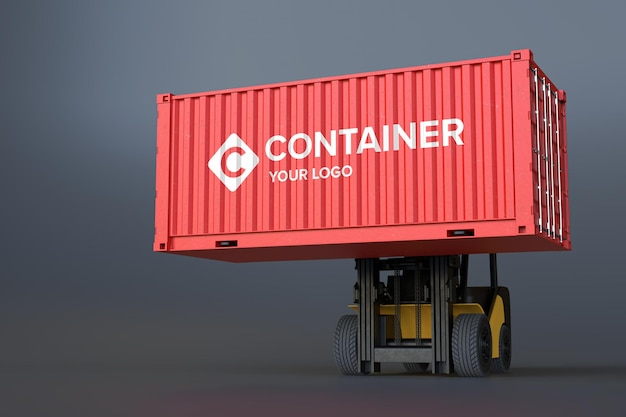 Logo mockup sul container on