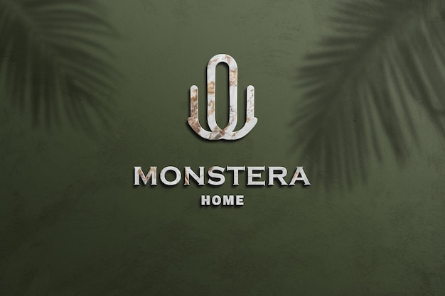 Logo mockup che intaglia marmo bianco 3d con stile in rilievo