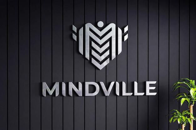 Mockup di logo sulla struttura della parete nera dell'azienda