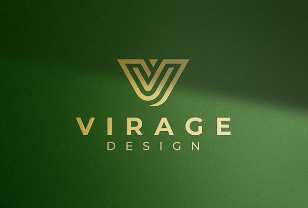 Logo mockup logo dorato con ombra
