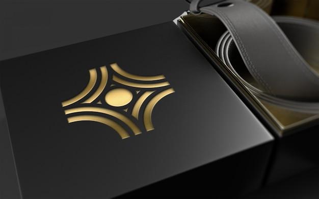 Logo mockup sul pacchetto cintura in pelle