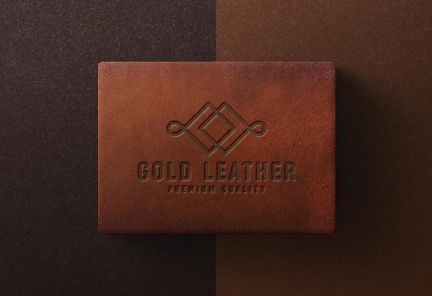 Logo mockup su scatola di cuoio
