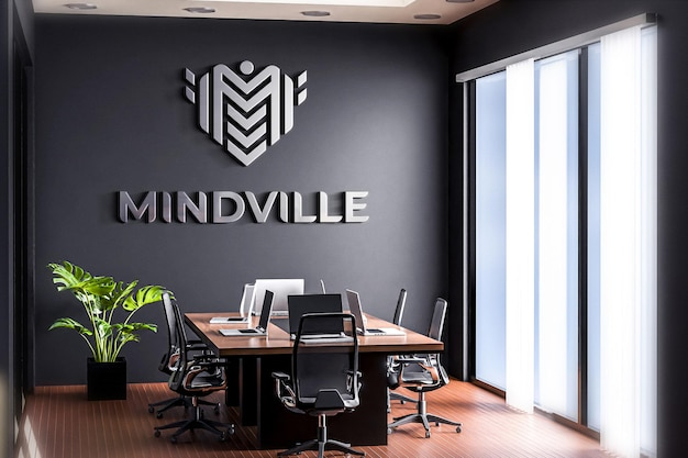 Logo mockup sala riunioni ufficio black wall 3d