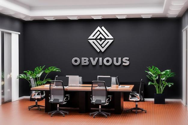 Logo mockup sala riunioni ufficio parete nera realistica