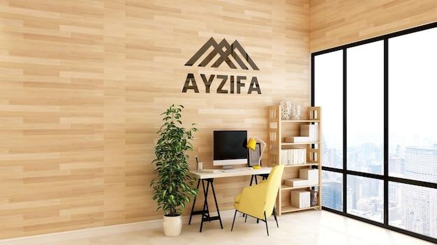 Logo mockup in uno spazio di lavoro in legno minimalista