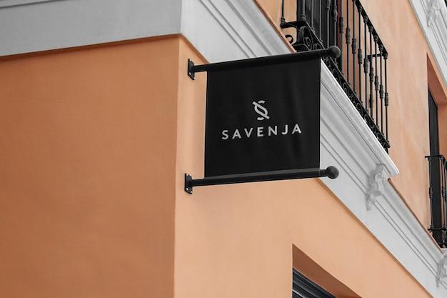 Logo mockup modern black flag sign