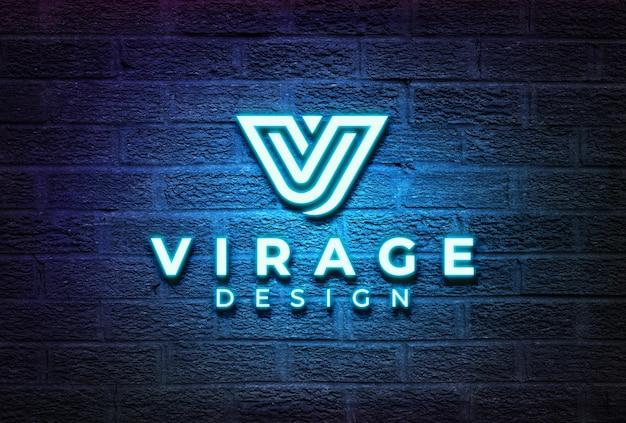 Logo mockup neon logo signage sul muro di mattoni