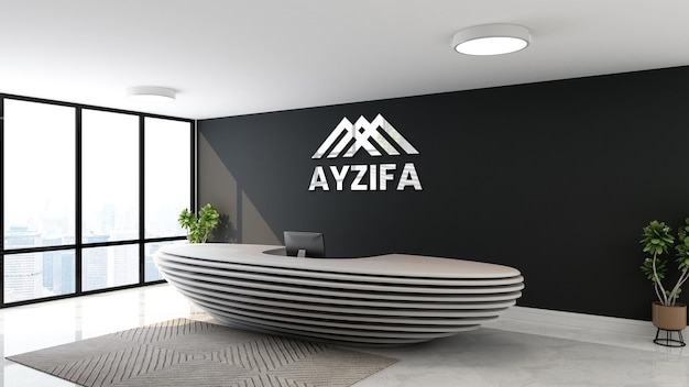 Logo mockup ufficio parete nera receptionist room