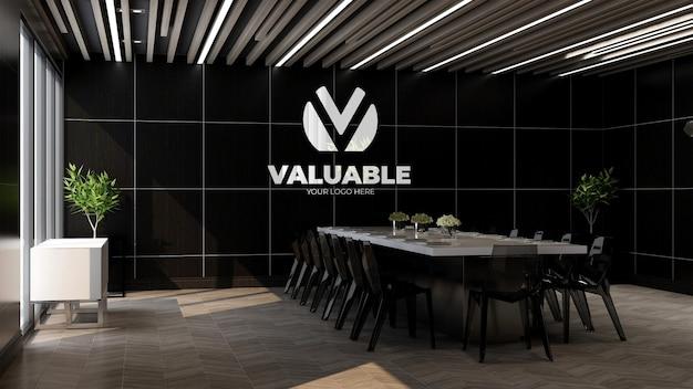 Logo mockup nella sala riunioni dell'ufficio