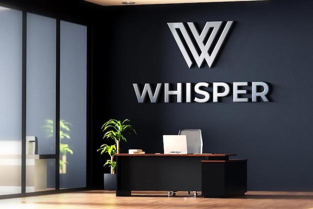 Logo mockup office room black wall 3d