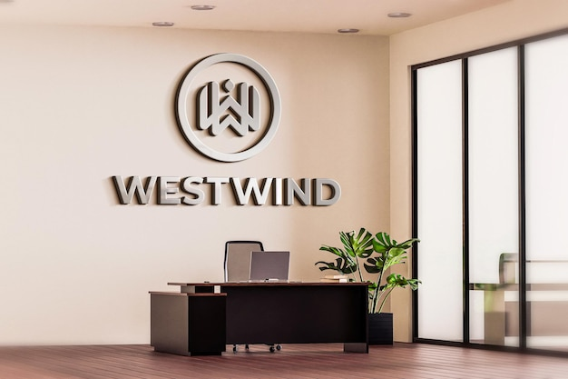 Logo mockup office room white wall 3d realisticq