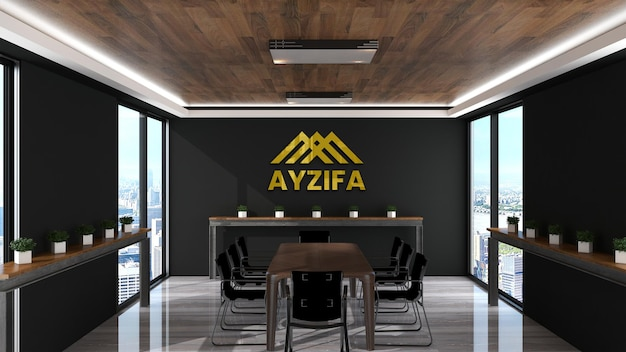 Ufficio mockup logo con interni di design in legno