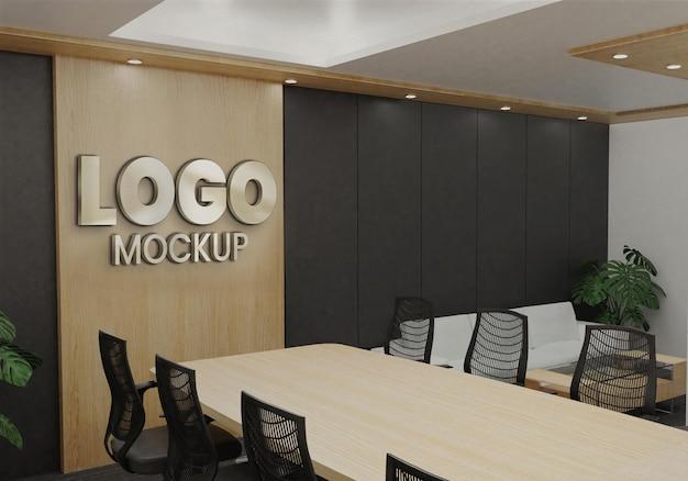 Logo mockup ufficio parete in legno sala riunioni