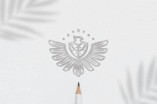 Logo mockup paper skecth minimalista