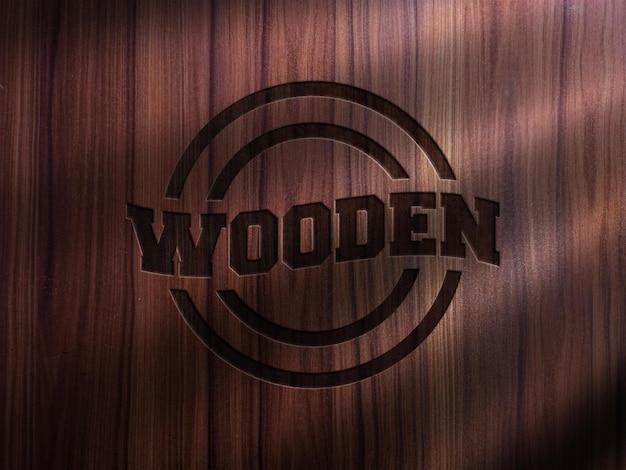 Logo mockup stampato su legno