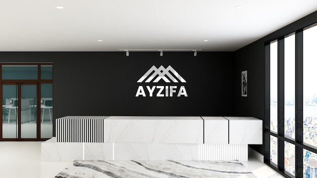 Logo mockup receptionist ufficio stanza