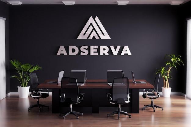 Logo mockup segno sala riunioni parete nera
