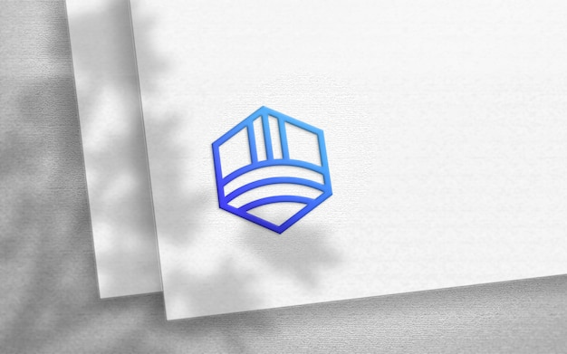 Mockup logo sulla carta di carta bianca artigianale